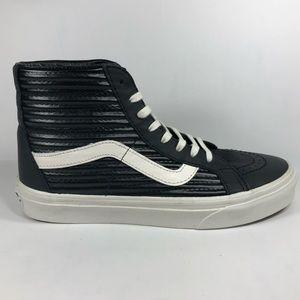 Vans Sk8 Hi Moto Leather Black & White Sneakers